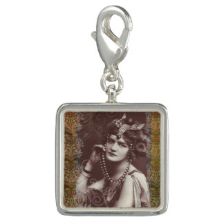 Vintage Party Girl on Victorian Tapestry Charm