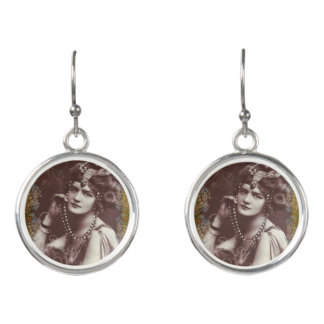 Vintage Party Girl on Victorian Tapestry Earrings