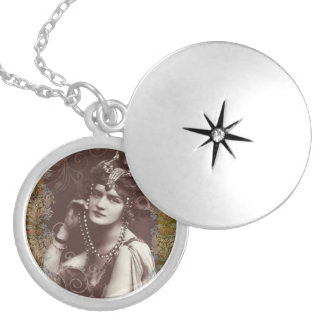 Vintage Party Girl on Victorian Tapestry Locket