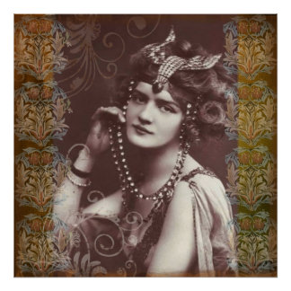 Vintage Party Girl on Victorian Tapestry Poster