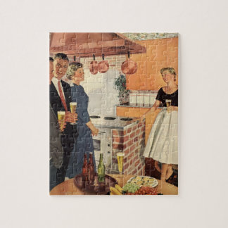 Vintage Party in the Kitchen, Beer and Appetizers Jigsaw Puzzle