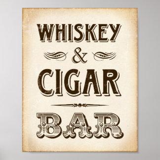 Vintage Party WHISKEY & CIGAR BAR Sign Print