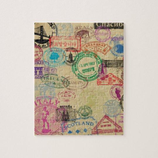 Vintage Passport Stamps 8x10 Photo Puzzle