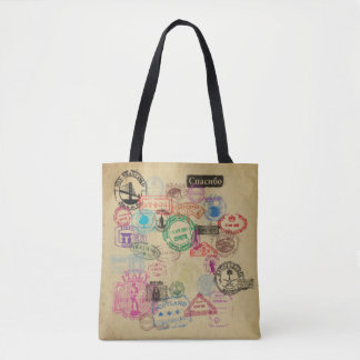 Vintage Passport Stamps All-Over-Print Tote Bag