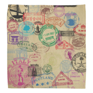 Vintage Passport Stamps Bandana
