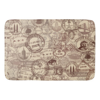 Vintage Passport Stamps Bath Mat