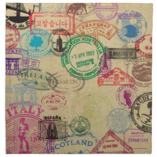 Vintage Passport Stamps Cloth Napkins (set of 4)