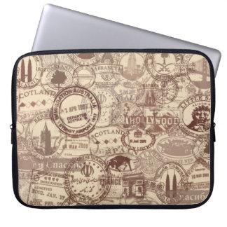 Vintage Passport Stamps Laptop Sleeve