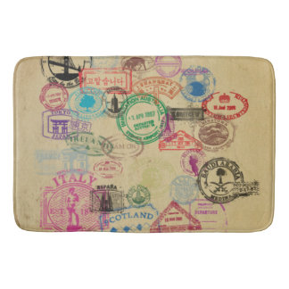 Vintage Passport Stamps Large Bath Mat