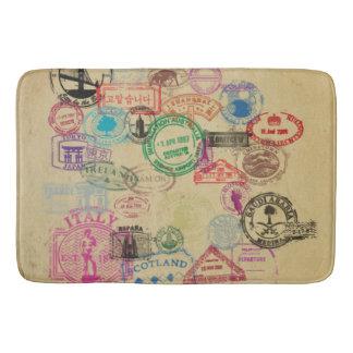 Vintage Passport Stamps Large Bath Mat Bath Mats