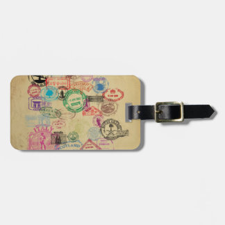 Vintage Passport Stamps Luggage Tag