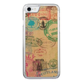 Vintage Passport Stamps Maple Wood iPhone Case