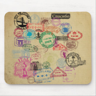 Vintage Passport Stamps Mouse Pad