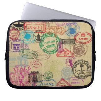 Vintage Passport Stamps Neoprene Laptop Sleeve