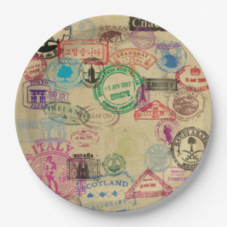 Vintage Passport Stamps Paper Plates 9""