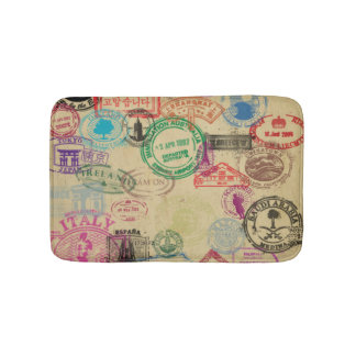 Vintage Passport Stamps Small Bath Mat