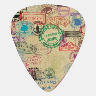 Vintage Passport Stamps Standard Guitar Pick