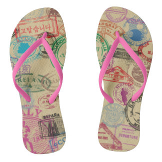 Vintage Passport Stamps Thongs