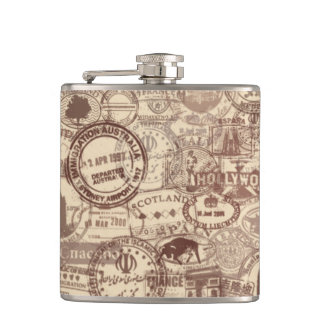Vintage Passport Stamps Vinyl Wrapped Flask