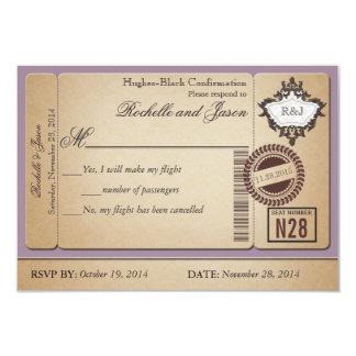 Vintage Passport Ticket RSVP Invites