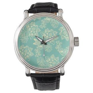 Vintage Pastel Aqua and Cream Roses.jpg Wristwatches
