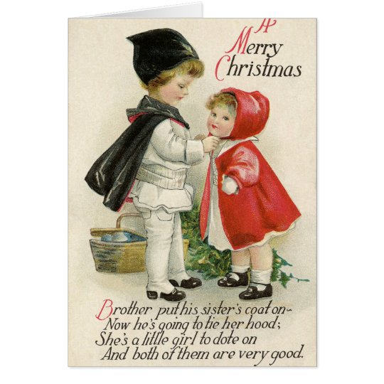 Vintage pastel colour Christmas children Card