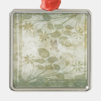 Vintage Pastel Floral Wedding Silver-Colored Square Decoration
