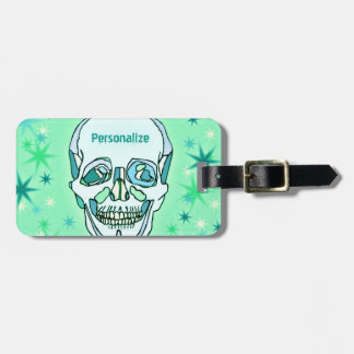 Vintage Pastel Green & Teals Skull and Stars Luggage Tag