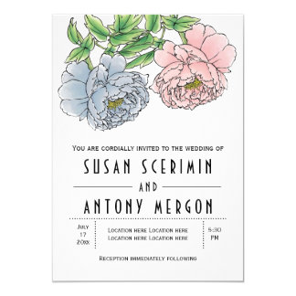 Vintage pastel pink blue peony flowers wedding card