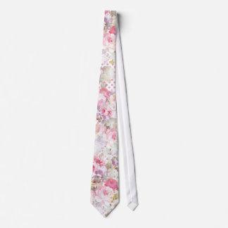 Vintage pastel pink floral pink polka dots pattern tie