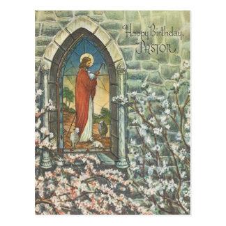 Vintage Pastor Birthday Postcard