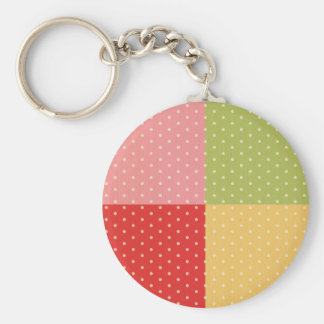 vintage patchwork colors polka dots girly shabby key chain