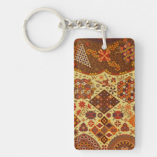 Vintage Patchwork Floral - In Autumn Colors Double-Sided Rectangular Acrylic Keychain
