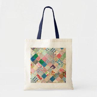 Vintage Patchwork Print Tote Bag