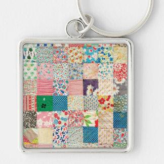 Vintage Patchwork Quilt Keychain