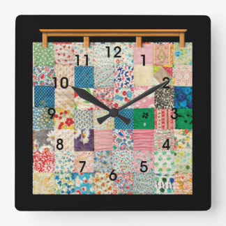 Vintage Patchwork Quilt Square Wall Clock