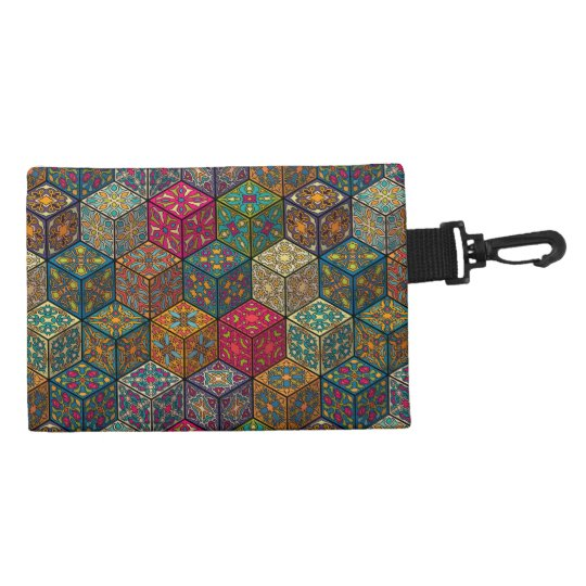 Vintage patchwork with floral mandala elements accessory bag