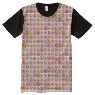Vintage patchwork with floral mandala elements All-Over print T-Shirt
