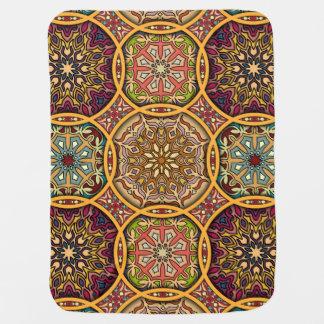Vintage patchwork with floral mandala elements baby blanket