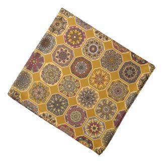 Vintage patchwork with floral mandala elements bandana