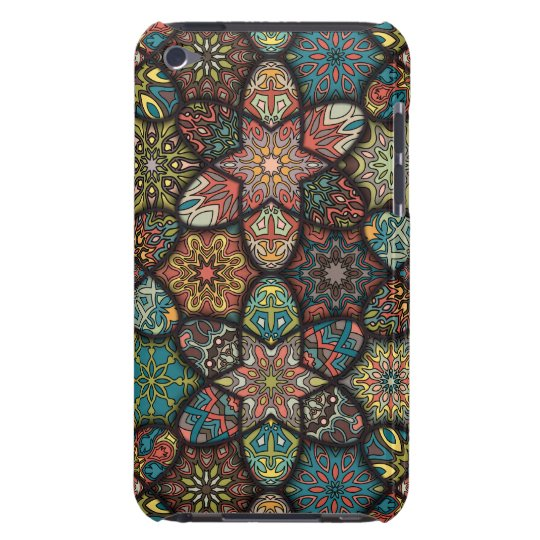 Vintage patchwork with floral mandala elements barely there iPod cases
