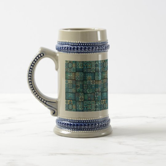 Vintage patchwork with floral mandala elements beer stein