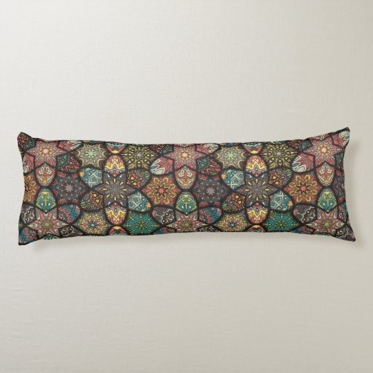 Vintage patchwork with floral mandala elements body cushion