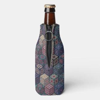 Vintage patchwork with floral mandala elements bottle cooler