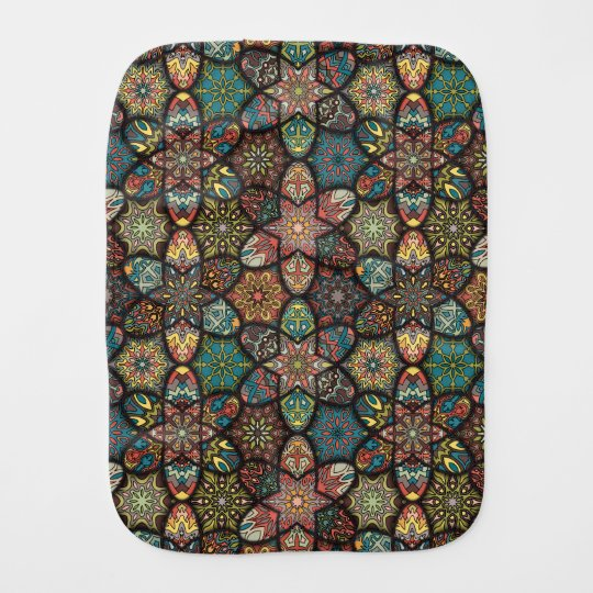 Vintage patchwork with floral mandala elements burp cloth