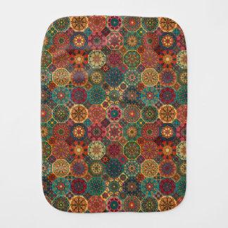 Vintage patchwork with floral mandala elements burp cloth