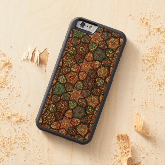Vintage patchwork with floral mandala elements carved cherry iPhone 6 bumper case