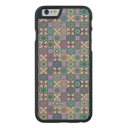 Vintage patchwork with floral mandala elements carved maple iPhone 6 case