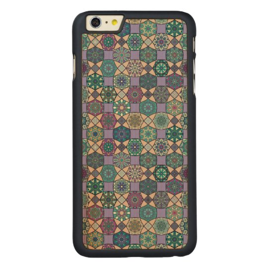 Vintage patchwork with floral mandala elements carved maple iPhone 6 plus case