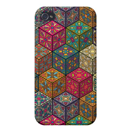 Vintage patchwork with floral mandala elements case for iPhone 4